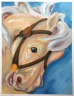 """""""Carousel Face"""" (8.5"""" by 11"""") Oil on Canvas Paper"""