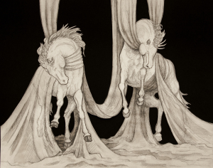 """""""Horses in Fabric"""" (14"""" by 11"""")"""