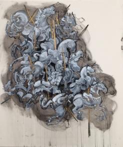 """""""Jumbled Carousel"""" Acrylic on Canvas (32"""" by 38"""")"""