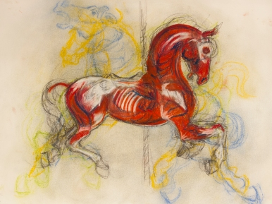 """""""Muscled Layered Horse"""" Pastel on Paper (18"""" by 24"""")"""